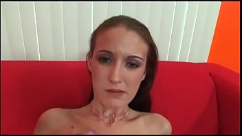 Cute babe with cool tattoos Hailey Young plays  with pleasure on a long black leather flute