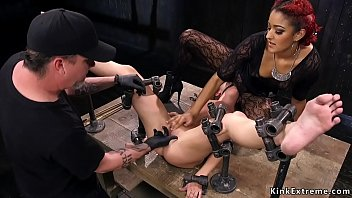 Ebony helps master submitting brunette