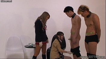 Japanese two girls masturbates a man while two watch them