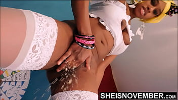 HD Msnovember Female Ejaculation Squirting Her Pretty Black Pussy Standing Up Spraying Cum Sticking Her Finger Deep Into Her Tiny Shaved Cunt In Slow Motion, Dripping Down Her White Thigh High Stockings On Sheisnovember