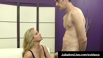 Hosed femdom - Fem dom cougar julia ann teases dick with her hosed feet