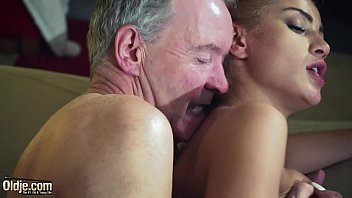 CoverOld Man Dominated by sexy hot babe in old young femdom hardcore fucking