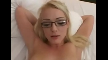 AMWF Zoey Paige USA Girl Glasses Blonde Nerdy Colleger Try To Cut Class Sex Chinese Old Guy