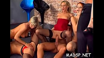 Babes get bored and begin a real orgy with some studs