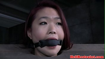 Bondage boots Redhead asian sub with mouth gag dominated
