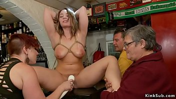 Tied big tits babe fucked in public bar
