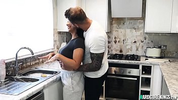 Busty brunette gets anal in the kitchen