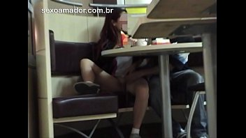 Girl crosses the line and lets friend masturbate her inside world renowned diner