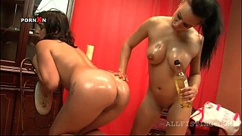 Hot ass horny lesbo slut gets pussy fisted on a chair