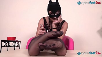 Two Italian dommes in black pantyhose humiliate you
