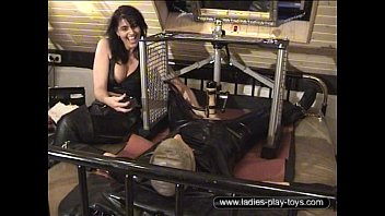 Humiliating machine milk femdom Suspended rubber slave milked