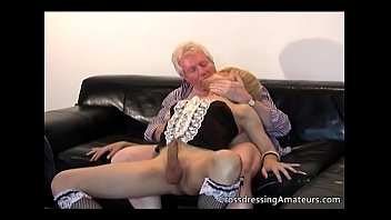 Younger blonde sissy gets naughty with an old man
