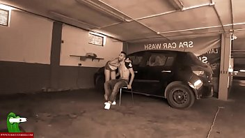 They are caught while she is eating dick in the car wash. SAN086