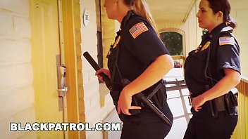 BLACK PATROL - White Cops With Big Tits Riding Big Black Cock On The Job