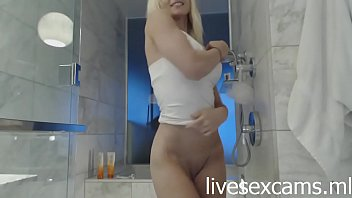 Blonde goddess in shower -