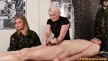 Femdom army milf Holly Kiss tugs recruit