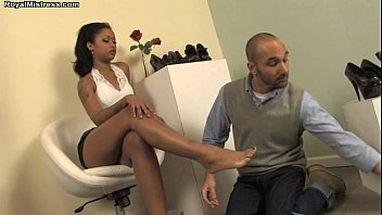 Shoe Salesman serves Miss Skin Diamond - femdom foot fetish