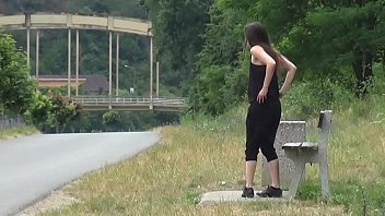 Piss Desperation - Gorgeous babe pees on the ground in public while out jogging 2 min