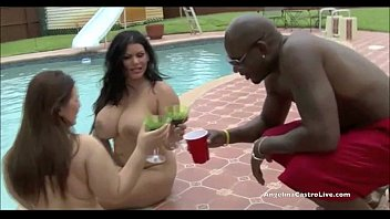 Big Titted Angelina Castro & Lexxxi take on MASSIVE cock by the pool!
