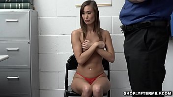 Pervy security guard cock feed the milf shoplifter