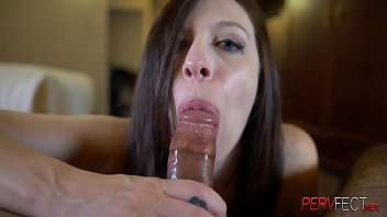 Black cock fits perfectly in this white whores throat