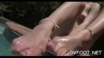 Hot foot fetisj play with chick fingering while feet licked