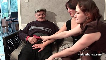 Nude hairy man woman Ffm two french brunette sharing an old man cock of papy voyeur