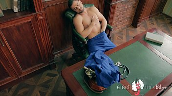 XXX gay doctor man masterbating right on the work-table