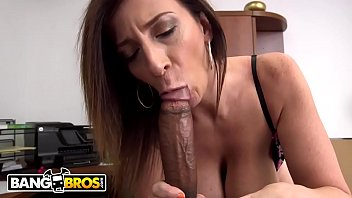 BANGBROS - Busty MILF Sara Jay Sucks A Big Black Cock Like The Professional She Is
