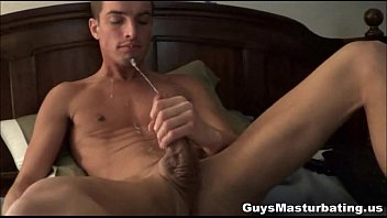 Horny gay guy solo wanking