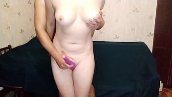 Young wife moans loudly and cums from vibrator on her wet pussy