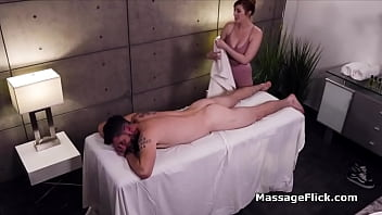 Milking cock under the table during massage
