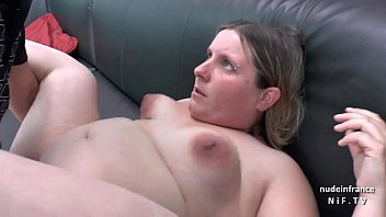 Casting couch of a fat bbw french blonde sodomized and jizzed on tits by her bf