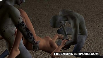 Sexy 3D Toon Babe Double Teamed Outdoors by Zombies 5 min