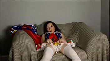 teen snow playing with toy- cosplayteencams.com