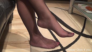 Nylon long foot teasing you to cum on it !