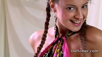 Brunette teen with small tits Marusya Mechta dances and strips on deflroation casting