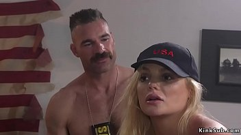 Busty blonde spy is fucked in bondage