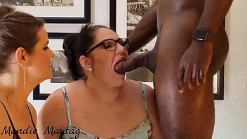 Luscious Lilli Helps Mandie Maytag With A Double Blowjob On A Fan