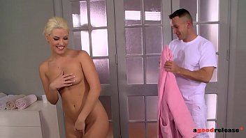 Blanche Bradburry gives a blowjob while getting fingered by her masseuse
