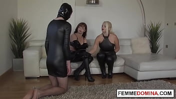 Canning session for useless submissive by two british dominas