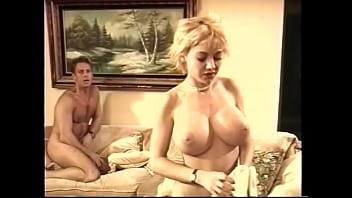 Blonde bitch babe with nice tits fucks his cock really hard