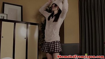 Amateur newhalf ladyboy doggystyled after bj