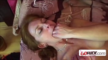 Old lady touches her hanging tits to get horny