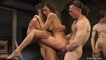 Sexy brunette Witch gangbang fucked
