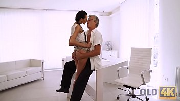OLD4K. Old and young sex action performed in the white office
