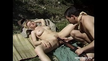 Blonde girl fucked and cumshot in the ass in the wood