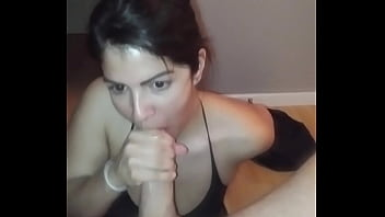 Busty brunette works hard cock for a facial