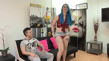 Blue haired babe gets AT LAST fucked by other dude while her boyfriend watches