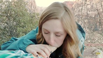 Cute Young Blonde Girl Fucked Outdoors - Molly Pills - Horny Hiking POV
